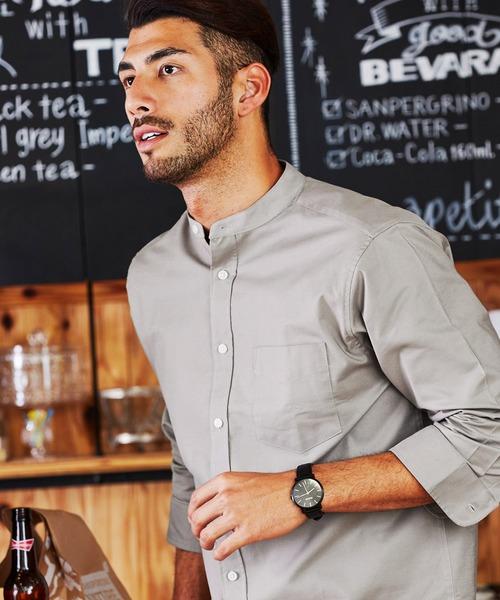 高密度オックスフォードストレッチバンドカラー7分袖シャツ