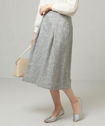 <closet story>□ブラシLINE フレア スカート -手洗い可能-