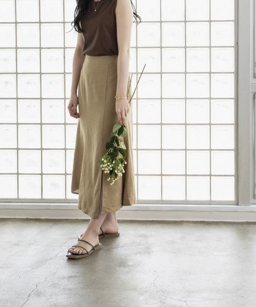 linen slit flare skirt