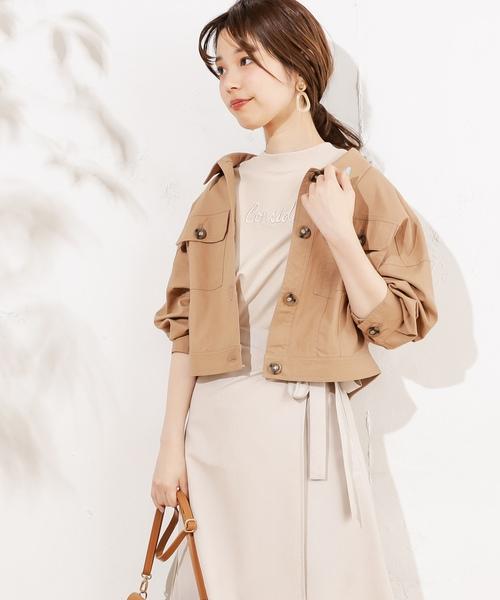 8362a35b9a772 natural couture(ナチュラルクチュール)の綿麻ライトショートブルゾン(ブルゾン)