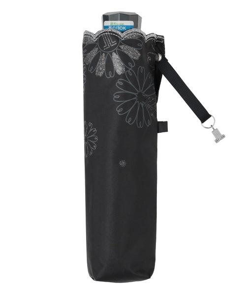 晴雨兼用折りたたみ日傘 グリッター花×スカラ刺繍