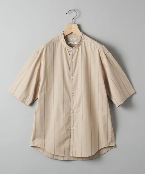 BY TANGO ストライプ テーパード バンドカラーシャツ