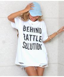ANAP(アナップ)のカットオフプリントダメージTシャツ(Tシャツ/カットソー)