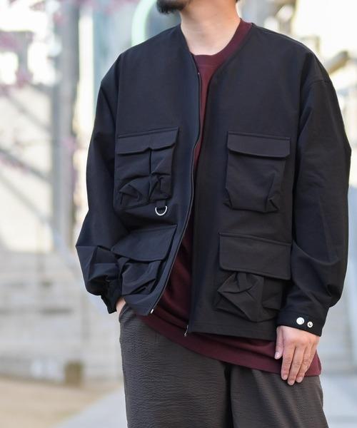 【i】グログラン フィシング ポケット ノーカラージャケット