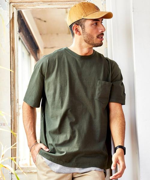 レイヤードコットン半袖ポケットTシャツ&サーマルタンクトップ(アンサンブル)2枚セット