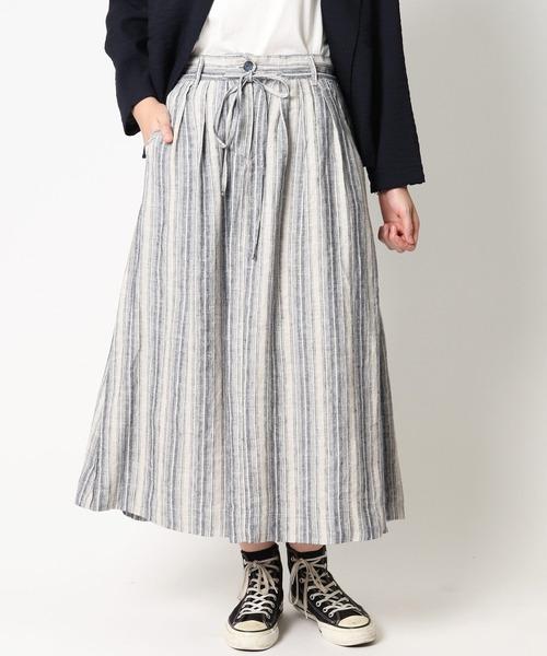 【 ubasoku / ウバソク 】ウエストタック脇ボックスタックロングスカート ub-0103 BNT