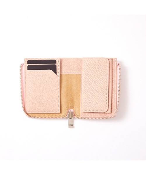 blancle(ブランクレ)の「bc1068 ITALY SHRINK LEATHER J ZIP WALLET イタリアンレザー コンパクト ジップ ウォレット(財布)」|ピンク