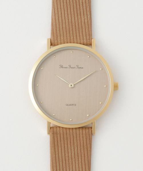 Three Four Time(スリーフォータイム)の「カラーケース合皮ウォッチ(腕時計)」|ベージュ