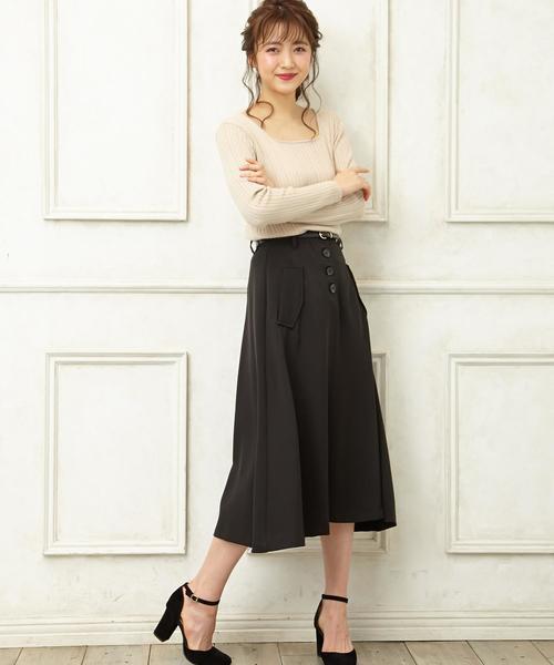 INGNI(イング)の「ベルト付前ボタンミディ/スカート(スカート)」|ブラック