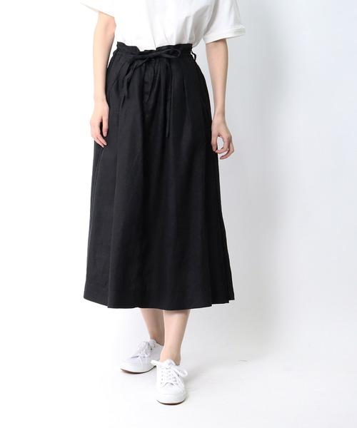 【 ubasoku / ウバソク 】ウエストタック脇ボックスタックロングスカート ub-0104 BNT