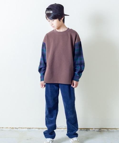 【&yam】袖チェック切り替え&ドロップショルダープルオーバー
