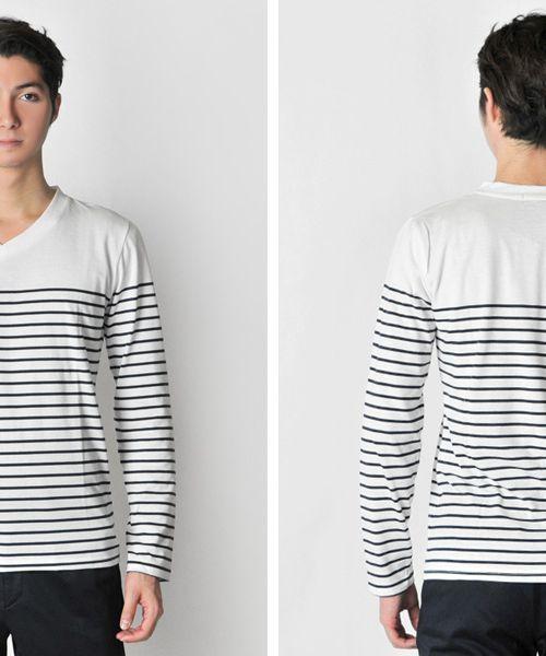 さわやかなボーダーロングスリーブTシャツ