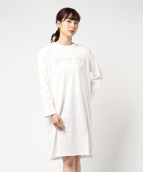 ビックロゴ刺繍 Tシャツワンピース