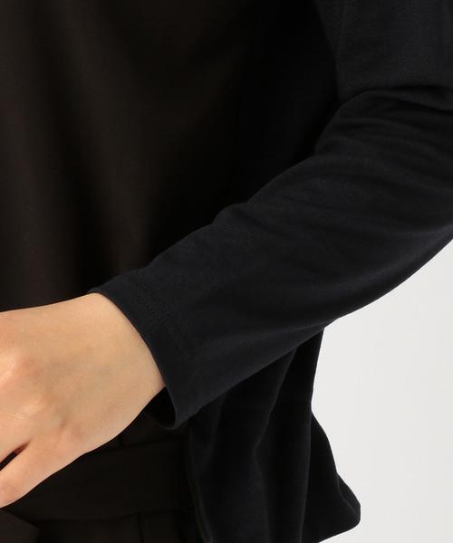 nota della mano sinistra / デシン&エステルストライプ×カットソー リボン付ワンピース