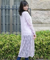 Girly Doll(ガーリードール)の花柄レースロングカーディガン(カーディガン)
