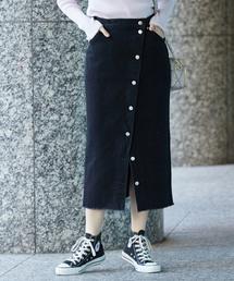 Lee(リー)の【WEB限定】【Lee(リー)】ボタンスリットスカート(デニムスカート)