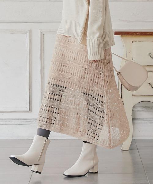 KOBE LETTUCE(コウベレタス)の「透かし編みフレアニットスカート(スカート)」|ベージュ