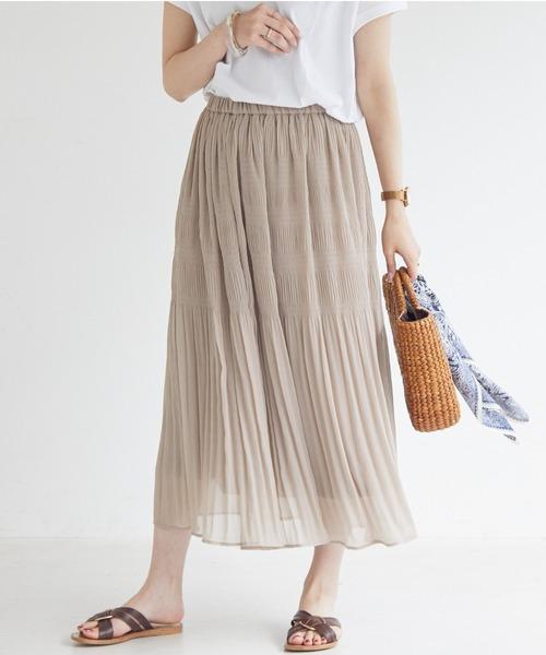 DOUX ARCHIVES(ドゥアルシーヴ)の「マジョリカプリーツスカート(スカート)」|ブラウン