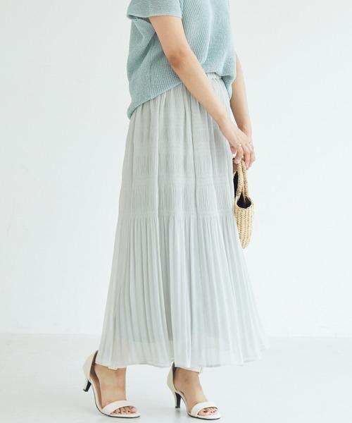 DOUX ARCHIVES(ドゥアルシーヴ)の「マジョリカプリーツスカート(スカート)」|グレー