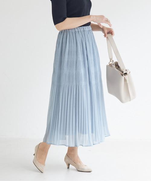 DOUX ARCHIVES(ドゥアルシーヴ)の「マジョリカプリーツスカート(スカート)」|ブルー