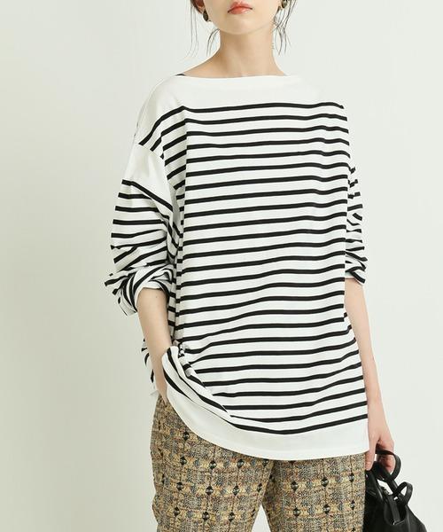 IENA LA BOUCLE(イエナラブークル)の「IENA LA BOUCLE パネルボーダープルオーバー◆(Tシャツ/カットソー)」|ホワイト