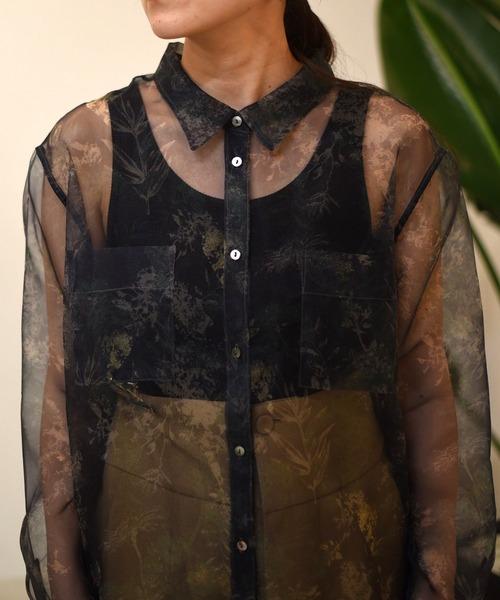 ボタニカルフラワーPT オーガンジーシャツ