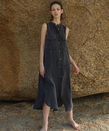 【LeonoraYang】Sleeveless shirt dress chw1511ダークネイビー