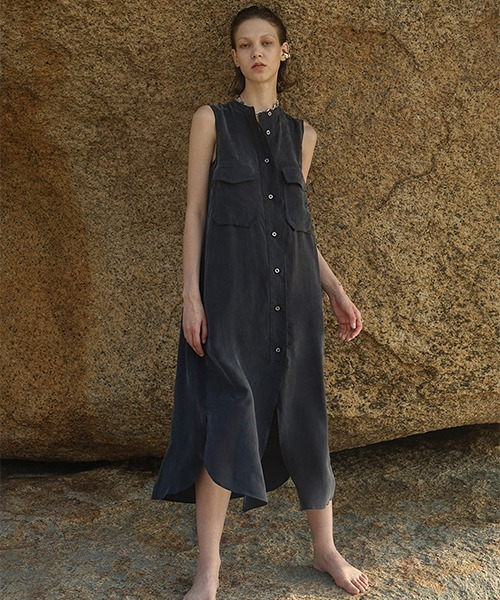 【LeonoraYang】Sleeveless shirt dress chw1511