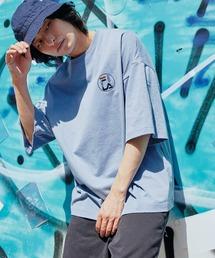 FILA/フィラ 別注 サークルロゴ刺繍 ビッグシルエット半袖カットソーライトブルー