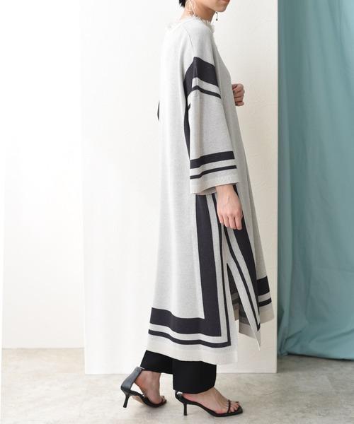 トリミングデザインニットドレス