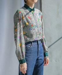select MOCA(セレクトモカ)の袖ポイントカラーヘリンボーン花柄ブラウスシャツ(シャツ/ブラウス)