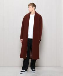 <H>WOOL CASHMERE PILE LONG COAT/コート