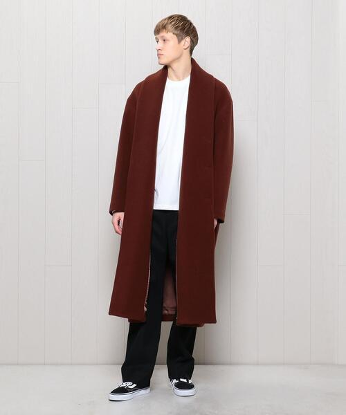 <H>WOOL CASHMERE PILE LONG COAT/コート