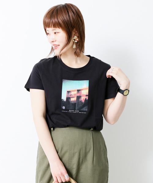 SEVENDAYS=SUNDAY(セブンデイズサンデイ)の「・タウンフォトプリントTシャツ ○(Tシャツ/カットソー)」 ブラック