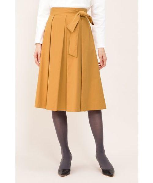 NATURAL BEAUTY(ナチュラルビューティー)の「タフタカラースカート(スカート)」|オレンジ