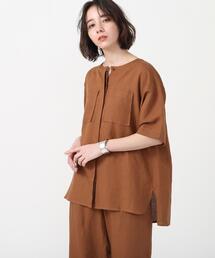 【セットアップ対応】リネンレーヨンショートスリーブシャツ#(シャツジャケット/オーバーシャツ)