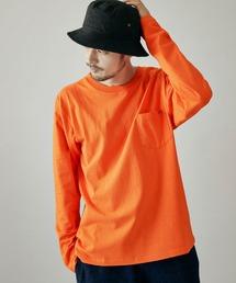 UNIVERSAL OVERALL/ユニバーサルオーバーオール POCKET LONG-TEE ポケット付き長袖カットソーオレンジ