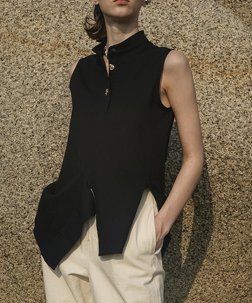 【LeonoraYang】Stand‐up collar sleeveless shirt chw1513