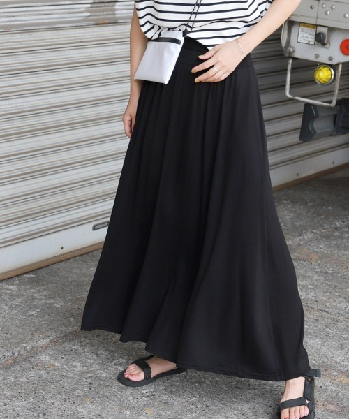 coca(コカ)の「選べるカラバリ◇フレアロングスカート(スカート)」 ブラック