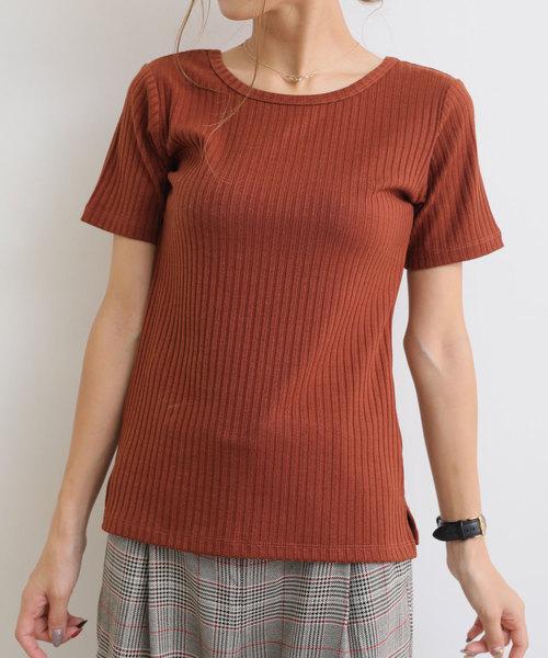 前後2wayリブニット半袖Tシャツ カットソートップス