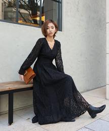 lace line design dress(ワンピース)