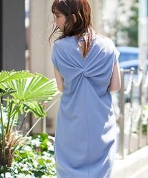 natural couture(ナチュラルクチュール)のバックねじり&スナップワッフルワンピ(ワンピース)