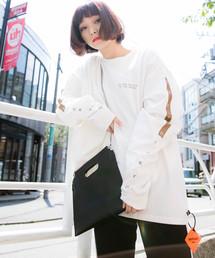 PUBLUX(パブリュクス)の【ユニセックスアイテム】DEFEND TOKYO/ディフェンド LOGO L/S TEE/ビッグシルエットロゴロングスリーブTシャツ/ロゴロンTEE(Tシャツ/カットソー)