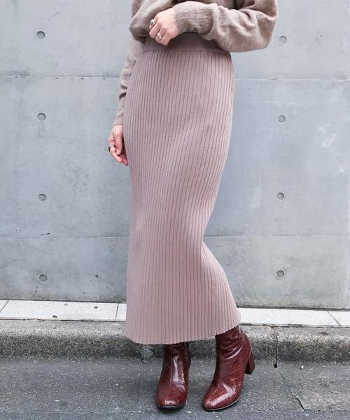 nano・universe(ナノユニバース)の「【WEB限定】リブニットタイトスカート(スカート)」 グレイッシュベージュ