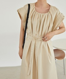 【chuclla】Roll sleeve dress chw1254ベージュ