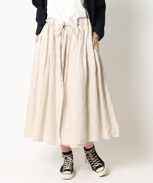 【 ubasoku / ウバソク 】ウエストギャザー裏付き2WAYラップスカート ub-0098 BNT