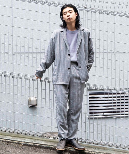 【BASQUE -enthusiastic design-】オーバーサイズ 2Bルーズセットアップ ライトジャケット/イージーパンツ アソートカラー
