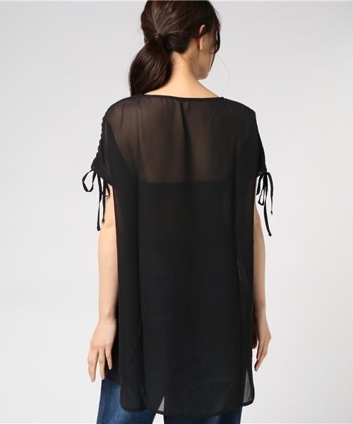 袖丈調節可能な前後異素材チュニックTシャツ