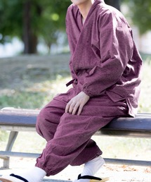 KYOETSU(キョウエツ)の「KYOETSU/キョウエツ」作務衣 冬用 中綿入り 紬風生地 フリース裏地 16(着物)