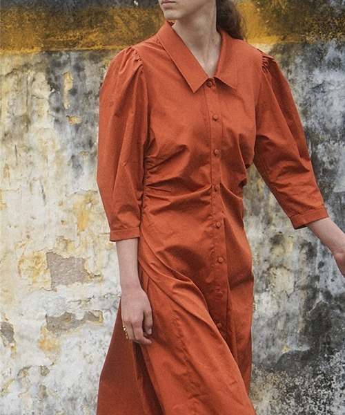 【LeonoraYang】Puff sleeve shirt dress chw1516